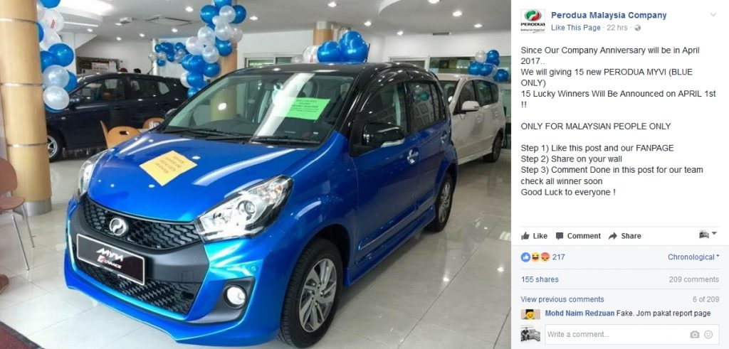 Perodua Fake FB Profile